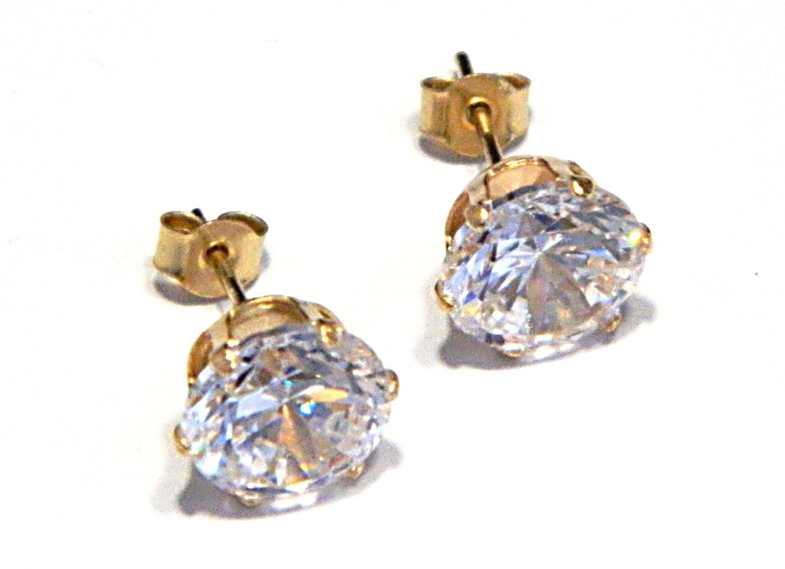 Arranview Jewellery 7mm CZ Stud Earring - 9ct Gold With Small (3mm) Butterfly Backs eUnh4