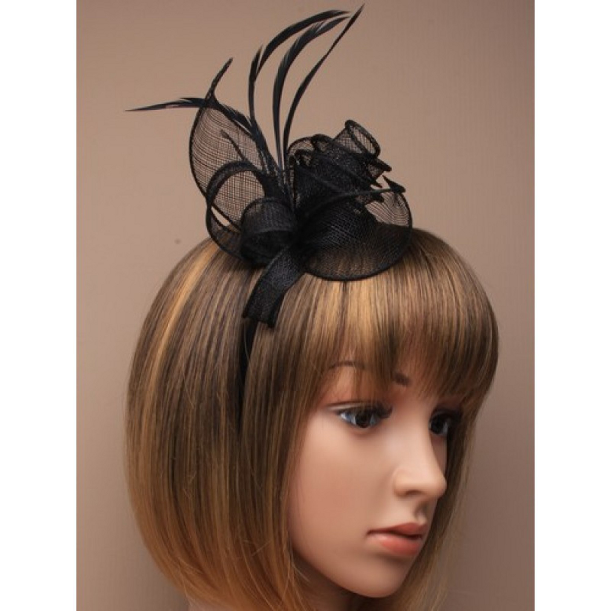 Black Fascinator Alice Hair Band With Hessian Flower
