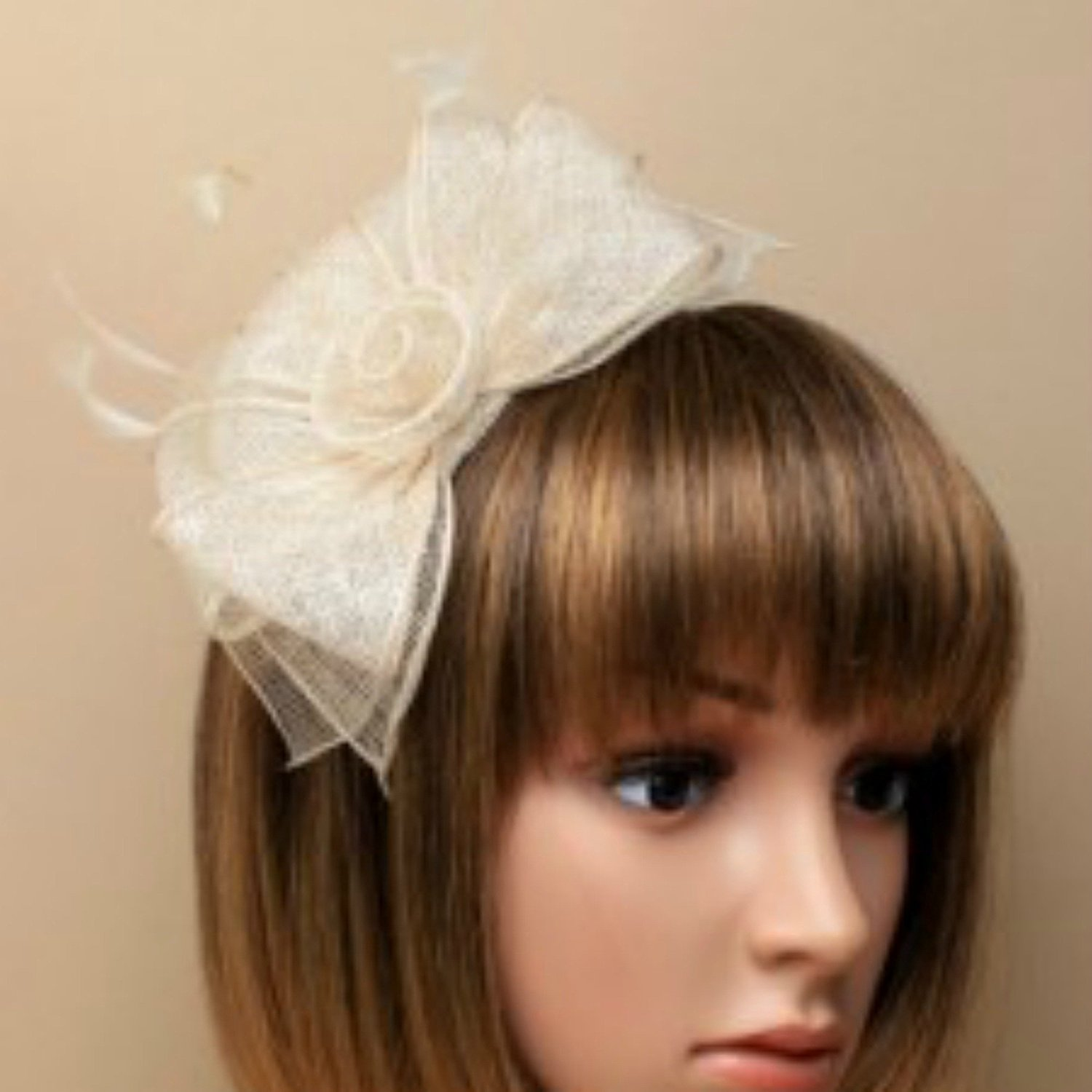 Ivory white fascinator alice hair band in sinamay with hessian rose ... d5ce2ca5fab