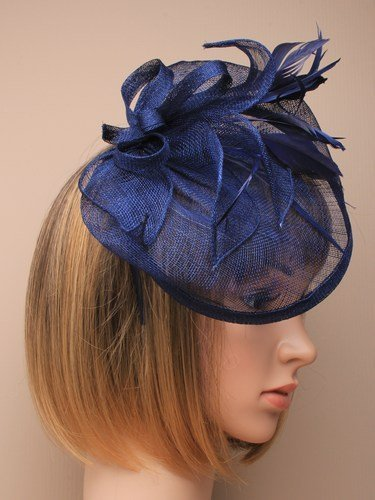 Navy blue with tendrils large fascinator alice hair band  e92ecb0039d
