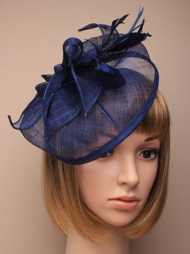 Navy blue with tendrils large fascinator alice hair band  24783ec9dd5