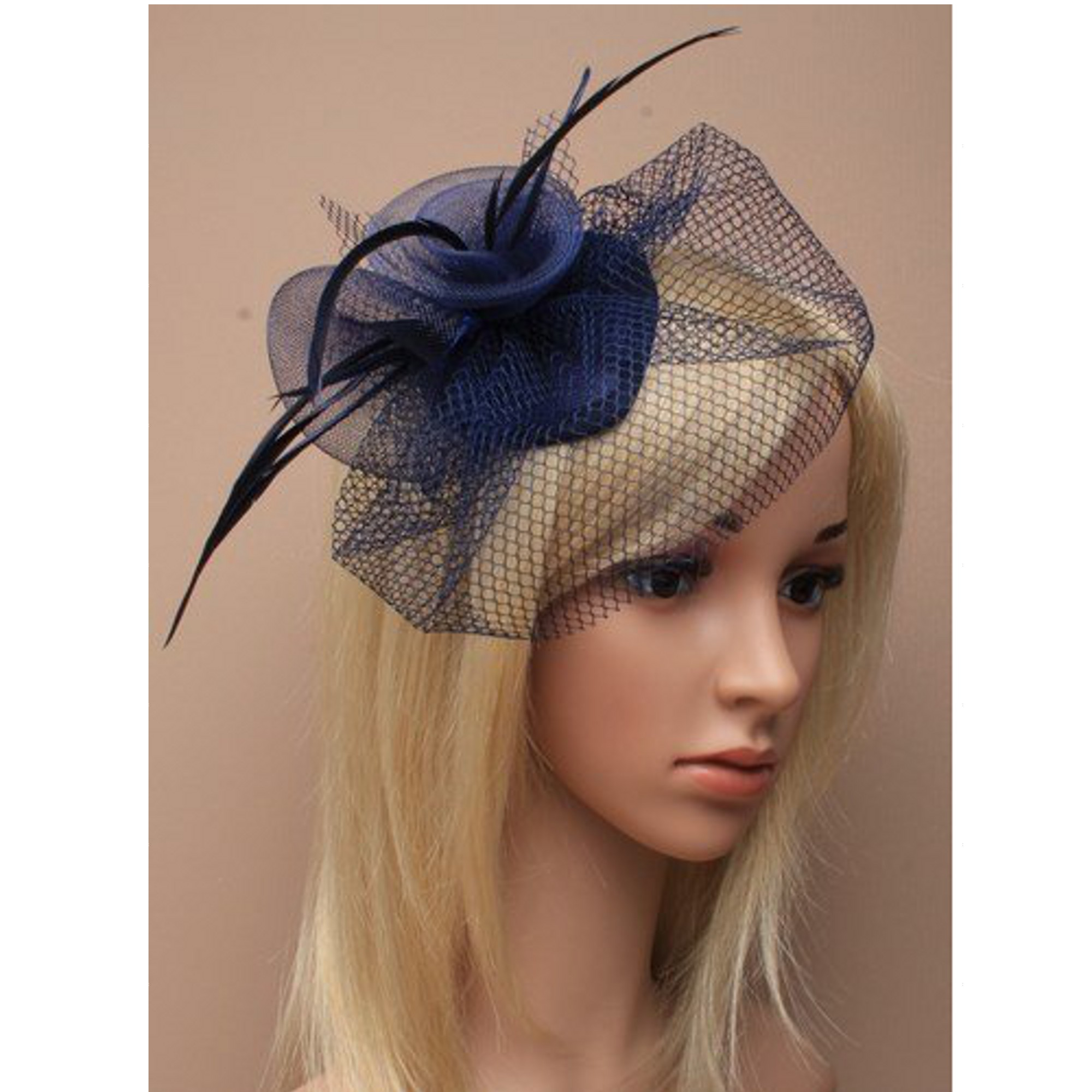 Navy Feather Net Clip Hat Fascinator Wedding Las Day Race Royal Ascot