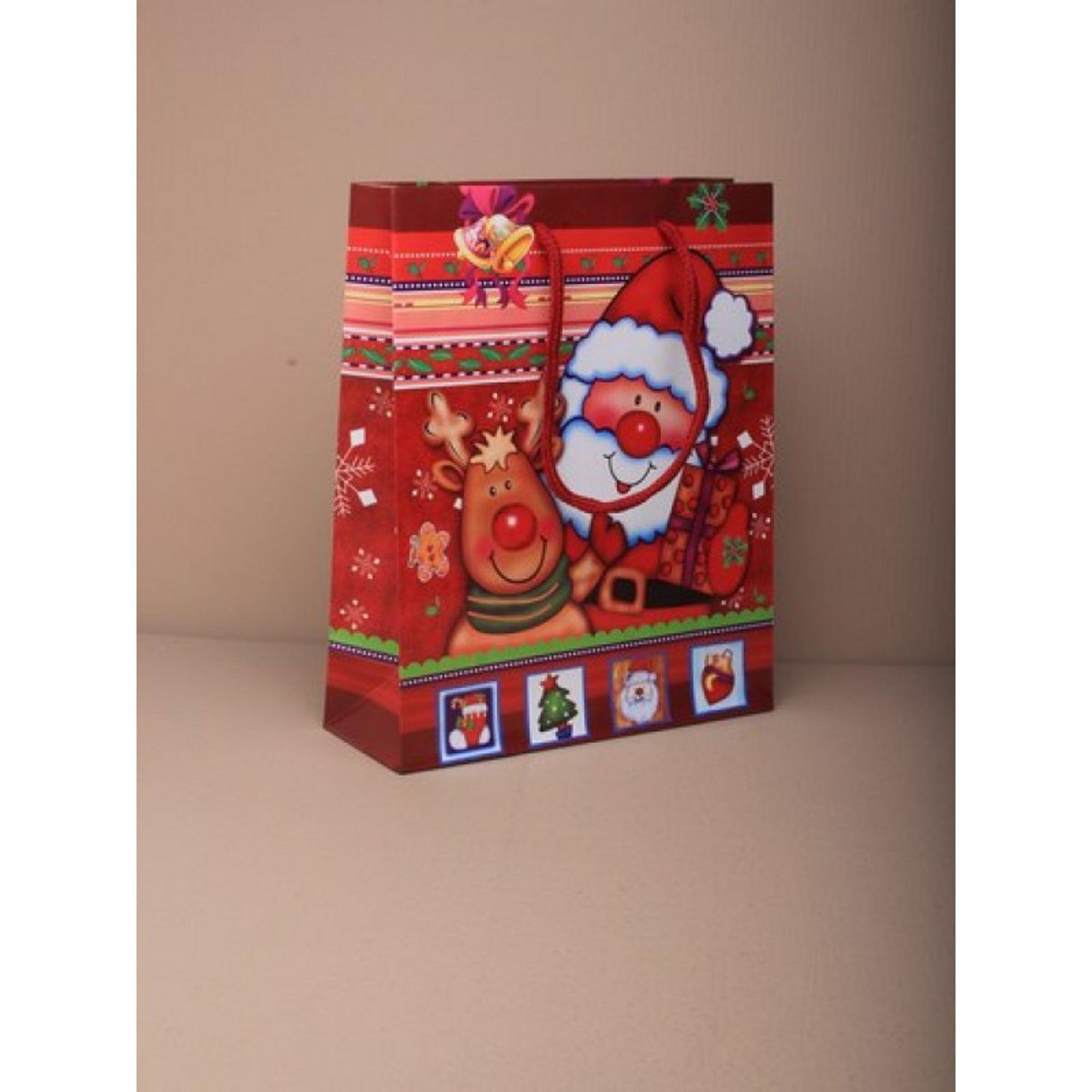 Pack of 12 Large Christmas Gift Bags Santa and Rudolf Xmas Presents Bags