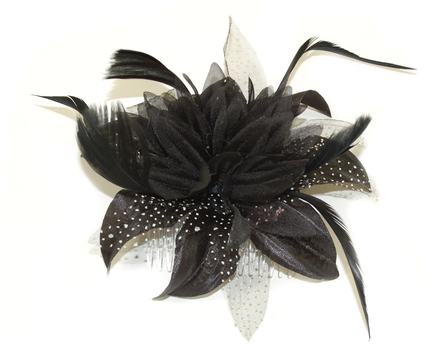 Black fascinator comb flower with feather tendrils  08b0688e9fd