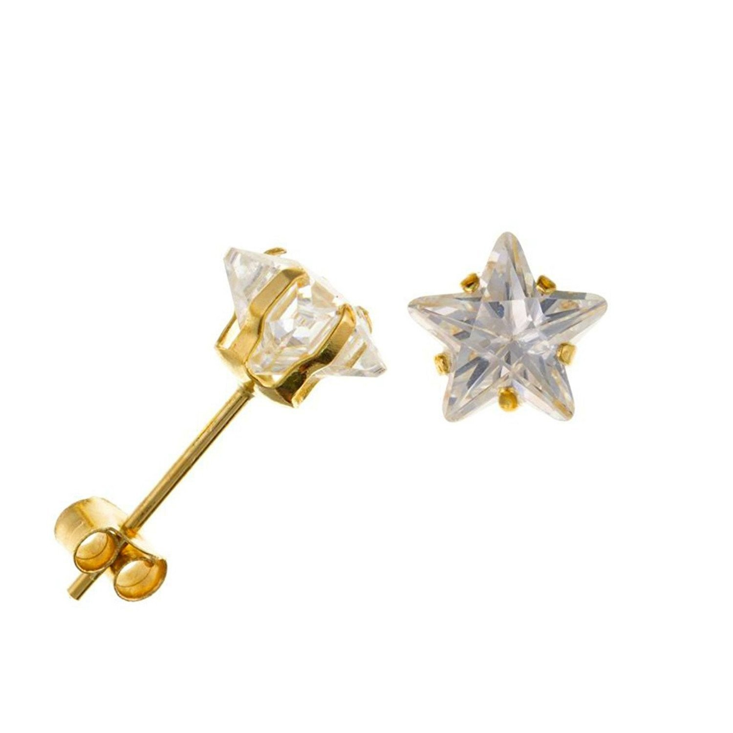Arranview Jewellery 7mm CZ Stud Earring - 9ct Gold With Small (3mm) Butterfly Backs A6uALnth7