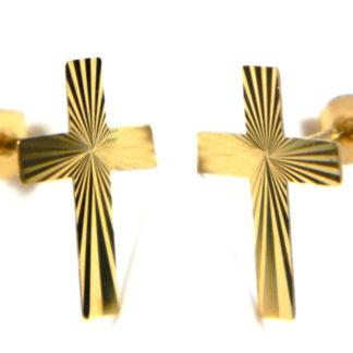 4e6c38bae9d Diamond cut cross stud earrings in 9ct yellow gold