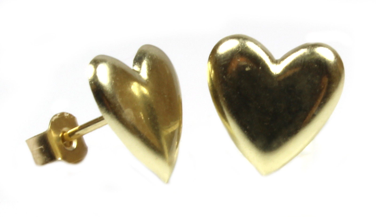 9ct Gold Stud Earrings Heart Design 7 Mm Post And Backs Also Yellow