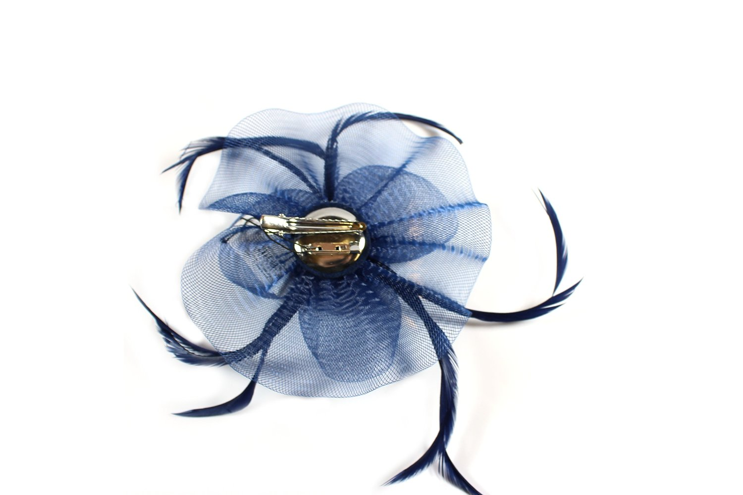 NEW Blue looped net and centre swirl fascinator clip and brooch pin wedding prom