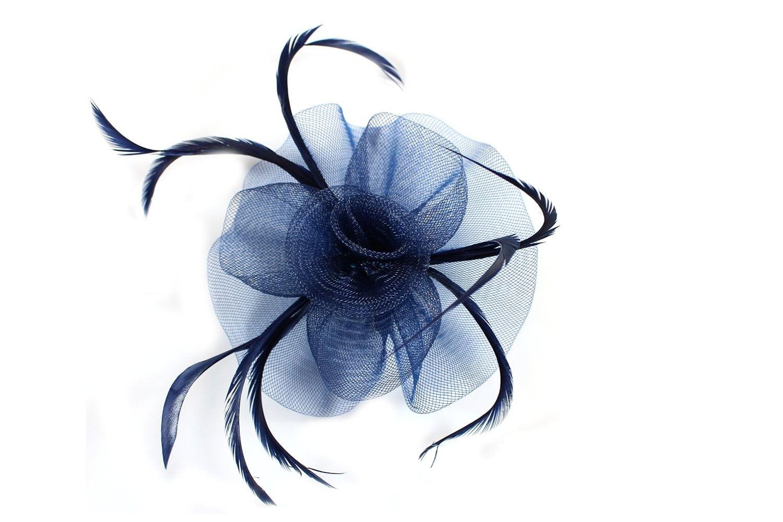 Looped Swirl Net and Feather Hair Fascinator in Deep purple