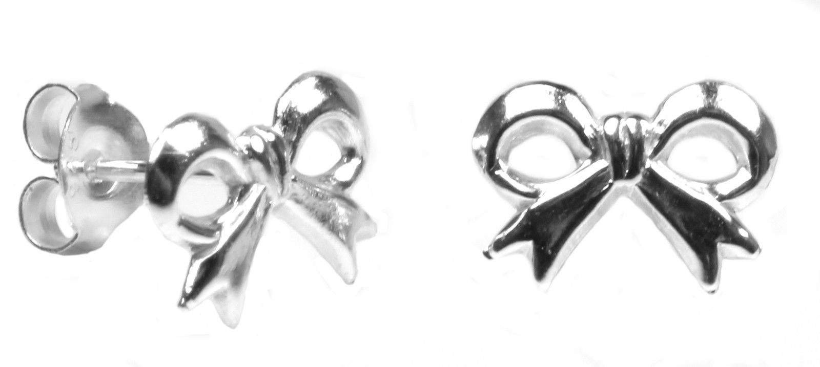 Bow 10 Mm By 6 Stud Earrings In Sterling Silver