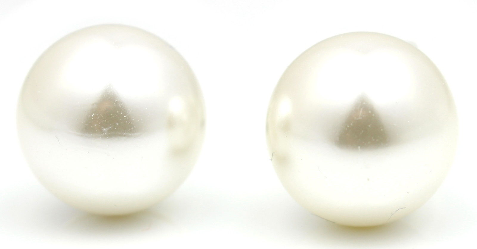 Ladies Silver Plated Large Round Pearl Clip On Earrings