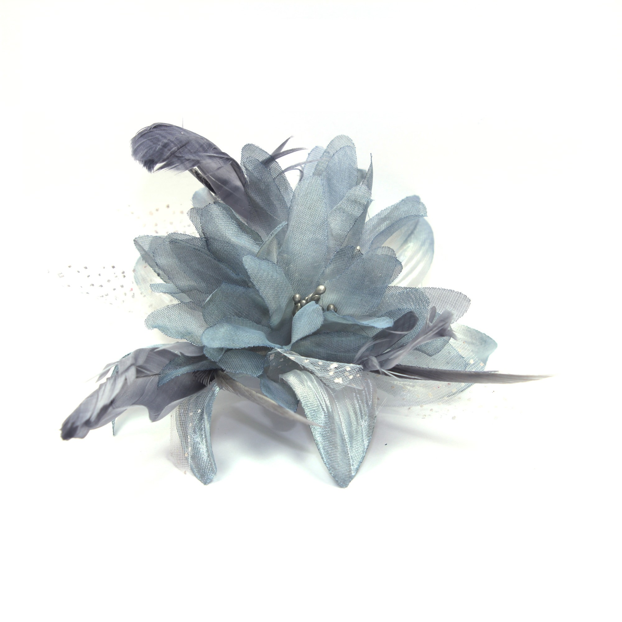 Silver Grey Flower Fascinator Comb With Feather Tendrils